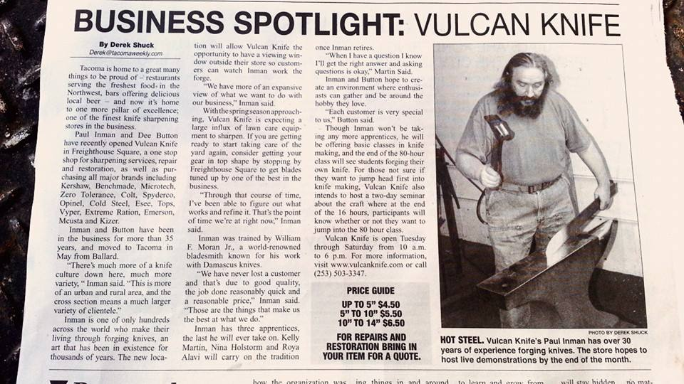 Tacoma Weekly News Article about Vulcan Knife